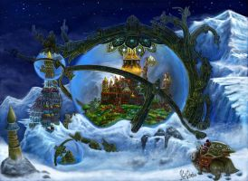 Steampunk ice city by YanQuelais