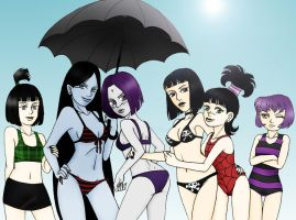 Goth Girls Beach Party by KuramaLoverBunny
