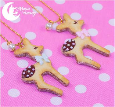 Sugary cookie baby deer Necklace by CuteMoonbunny