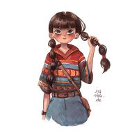 girl with braids and patterned shirt by Iraville