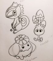 Pokemon practice Morelull Skiploom and Kecleon