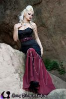 Black and Red Mermaid Gown with Chains by DaisyViktoria
