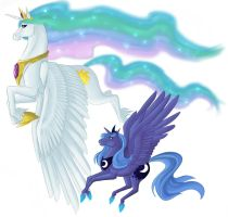 :: mlp:fim- celestia and luna by biscuitcrumbs