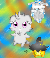 Espurr Pumpkaboo And Carbink by leafyloo
