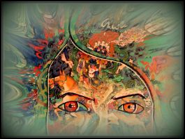 oldpaintingrevisited trippy eyes digital by santosam81