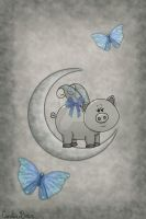 Vintage and moon piggy I by VioletDolphin