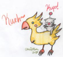 Riding on a Chocobo, Kupo! by cleris4ever