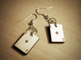 Playing card earrings by StaticSkies