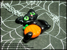 Pumpkin Cat Necklace by GrandmaThunderpants
