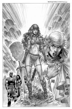 Red Sonja Vultures Circle 5 Cover by wgpencil