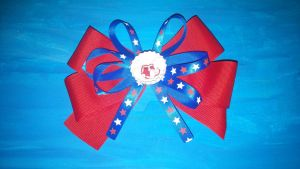 Red Sox Hair Bow by wolf-girl87