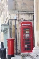 British Telephone Box Hanging With A Post Box by oEmmanuele