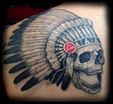 Native american skull and feathers tattoo by cbader