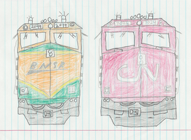 BNSF and CN F40s by BNSF