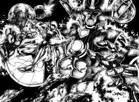 Silver Surfer and Galactus ink by logicfun