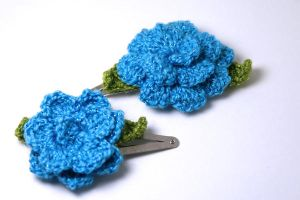 Blue Rose Hairclips by kokito85