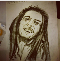 Bob Marley Drawing Charcoal by Riissie