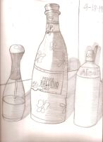 My three bottles sketch project with hatchings by Magic-Kristina-KW