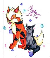 Arcanine and Mightyena by bshadow93