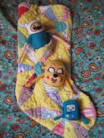 Finn, Jake and BMO Needle Felted onto Stocking WIP by CatsFeltLings