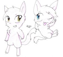 Two cute mews by HollyBjeam