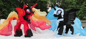 Solar Flare and Nightmare Moon Plushies by Drachefrau