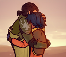 Spacedad and blueberry hugs. by arrival-layne