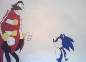 Dr. Eggman and Sonic colour by TeamOf1