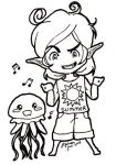 Trivia Elf and Cute Jellyfish 0001 by JhekieJ