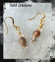 Lt Green with Copper Flecks Glass Earrings by kelleejm1