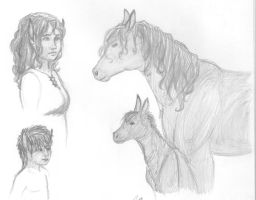 Kayah and Kumnos B/W picture by Kayah-D-Horse-Maiden