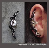 Gradient steampunk ear cuff by bodaszilvia