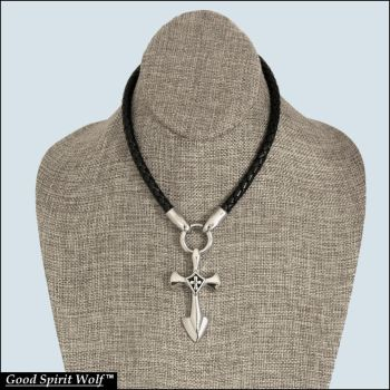 Tip of The Spear Warrior Cross on Leather Necklace by GoodSpiritWolf