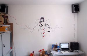 drawing on the wall by vaidass
