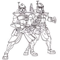 ARC Troopers Echo and Fives Lineart by Blayaden