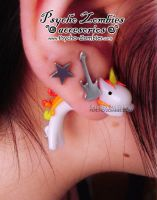 Fire unicorn stud earring fake plug by Initta