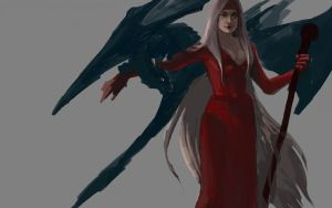 Meelya and the Dragon_in progress by Rosalind-WT