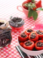 Strawberries Filled with Chocolate Sauce by theresahelmer