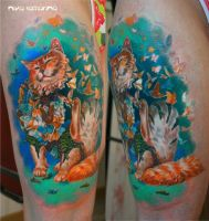 cat tattoo by NikaSamarina
