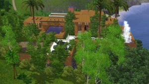 Sims 3 Modern brown hillside villa by RamboRocky