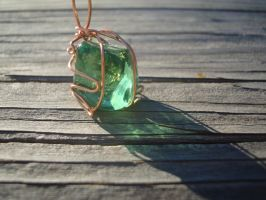 Copper-wrapped Green Glass Pendant by TheWingedBoggart