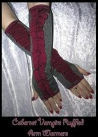 Cabernet Ruffled Arm Warmers by ZenAndCoffee