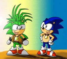 Sonic and Manic - COLORED by Fargus