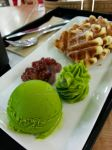 Green Tea ice cream and red bean Waffle by NatalieFNS