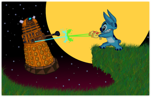 Stitch vs. The Dalek by andy-pants