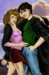 Harry and Hermione at Sunset by napalmnacey