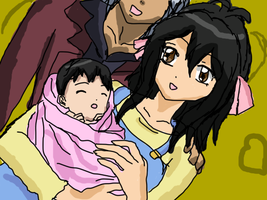 Victoria and Tsubasa with their daughter Veronica by VictoriaRZepeda