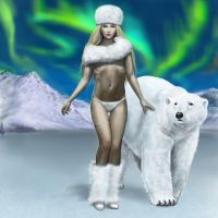 Lady with Polar Bear by dashinvaine