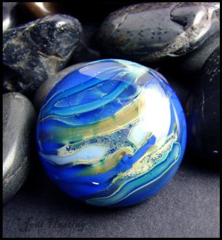 Neptune - Glass Lampwork Cabochon by andromeda