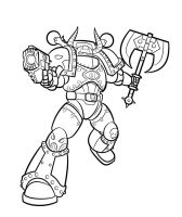 Chaos Marine Lineart by Blazbaros